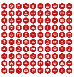 100 paying money icons hexagon red vector