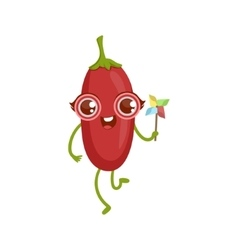 Goji berry girly cartoon character vector