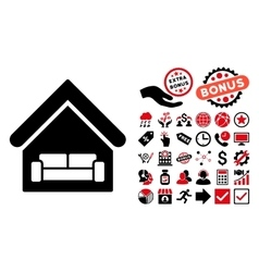 House interrior flat icon with bonus vector