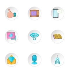 Headline icons set cartoon style vector