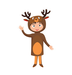 kid deer costume festival superhero character vector image