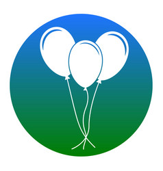 balloons set sign  white icon in bluish vector image