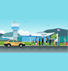 passengers waiting for a taxi vector image