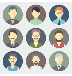 Male faces icons set vector