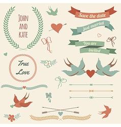 wedding set with birds hearts arrows ribbons vector image