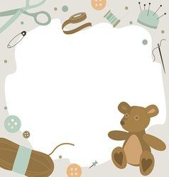 Background with sewing tools and teddy bear vector