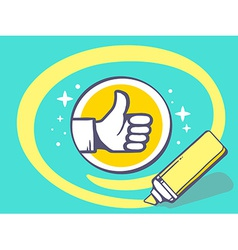 Marker drawing circle around thumb up on vector