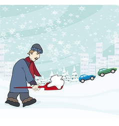 Man shoveling snow from street in winter vector