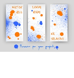 Set of 3 banners with blue and orange splashes vector