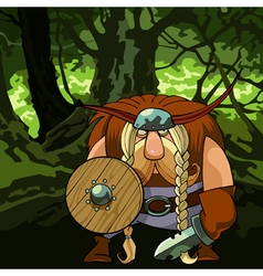 Cartoon funny viking man in armor in the forest vector