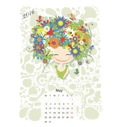 Calendar 2016 may month Season girls design vector image