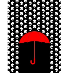 Rain of skulls umbrella protects from head of vector