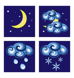 Night weather icons vector image
