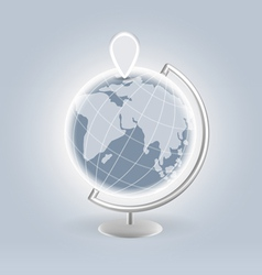 Silver earth with navigation pin vector