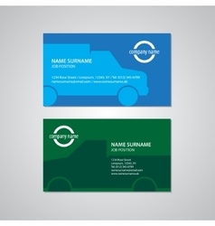 Set of two business cards with cars vector