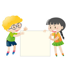 boy and girl holding blank sign vector image