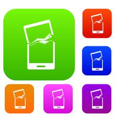 broken phone set color collection vector image