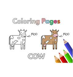 cartoon cow coloring book vector image