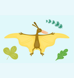 Cartoon dinosaur pterodactyl vector