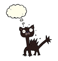 Cartoon scared cat with thought bubble vector