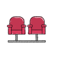 Cinema chair to watch movie scene vector
