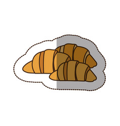 Color croissant bread icon vector