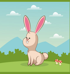 cute bunny animal baby with landscape vector image