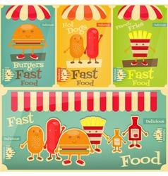 fast food set vector image vector image