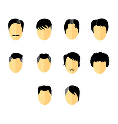 Flat color hairstyles icon set vector