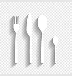Fork spoon and knife sign white icon with vector