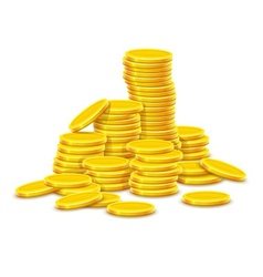 Gold coins cash money in hill vector
