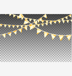 golden isolated garland with party flags vector image