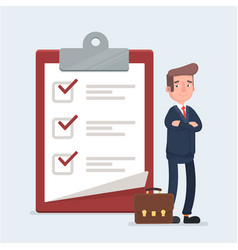 happy businessman looking at a completed checklist vector image vector image