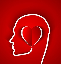 Human head contour with red heart vector image vector image