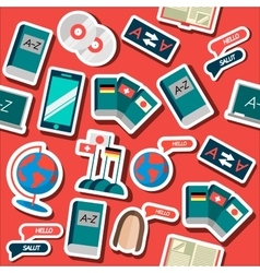 Languages education flat collage vector