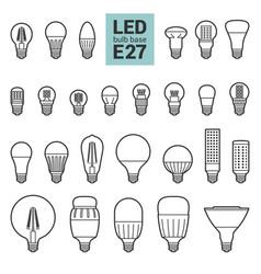 led light e27 bulbs outline icon set vector image