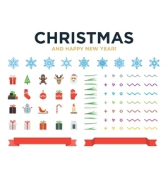 Marry christmas and happy new year modern design vector