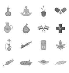 Medical marijuana icons set black monochrome style vector