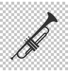 Musical instrument Trumpet sign Dark gray icon on vector image vector image