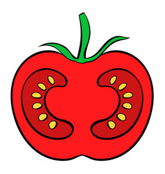 Red tomato icon cartoon vector