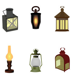 set of vintage camping old lamp for hiking vector image vector image