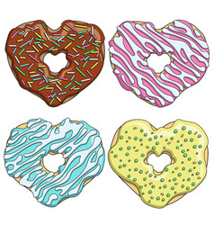 Set tasty donuts in the form of a heart vector