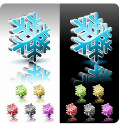 shiny 3d snowflake button vector image vector image
