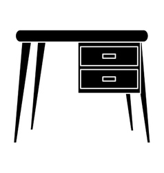 Silhouette desk office work place icon vector