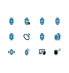 Touch watch duotone icons on white background vector
