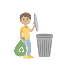 Boy taking out recycling garbage bag vector