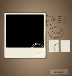 Blank grunge post stamps and photo frame vector