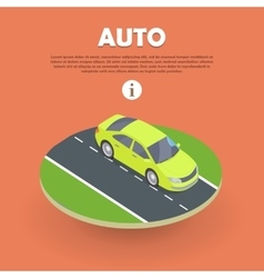 Auto on road web banner electric car icon object vector