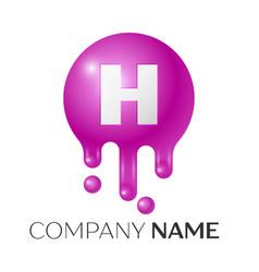 H letter splash logo purple dots and bubbles vector