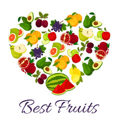 Fresh juicy fruits in heart symbol vector